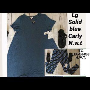 NWT SET LG SOLID BLUE 🦄Carly & TC LEGGINGS